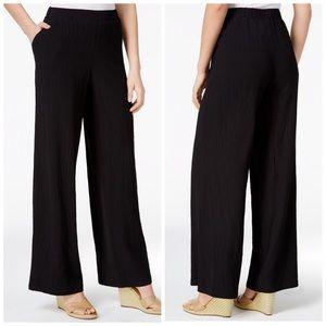 JM Collection Black Crinkle Wide Leg Pant Petite S